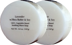 Gentleman's Hangar Old School Lavender Shave Soap with Shea Butter & Soy (Pack of 2)